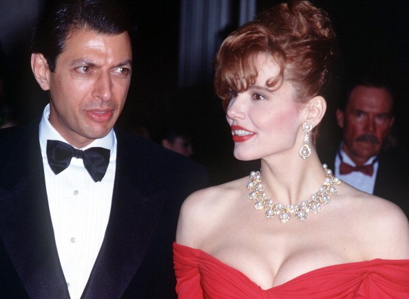 Actress Geena Davis with her husband, actor Jeff Goldblum during the 62nd Annual Academy Awards at the Music Center in Los Angeles, California, United States, 26th March 1990.