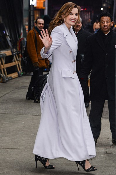 Actress Geena Davis leaves the 'Good Morning America' taping at the ABC Times Square Studios on February 5, 2015 in New York City.