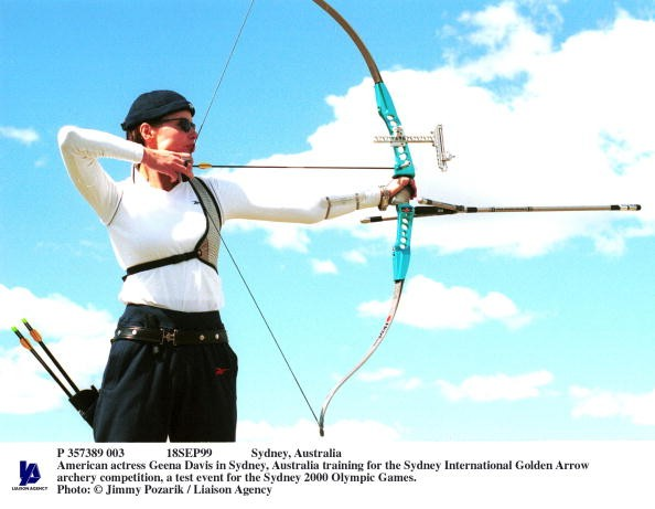 American Actress Geena Davis In Sydney, Australia Training For The Sydney International Golden Arrow Archery Competition, A Test Event For The Sydney 2000 Olympic Games.