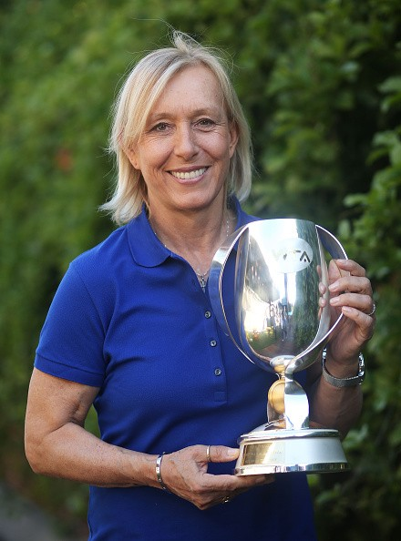 Martina Navratilova poses with the WTA Finals doubles trophy that bears her name as the Woman's Tennis Association announced she would return as an Official Legend Ambassador for the 2015 BNP Paribas WTA Finals Singapore, presented by SC Global during the 2015 Australian Open at Melbourne Park on January 28, 2015 in Melbourne, Australia.