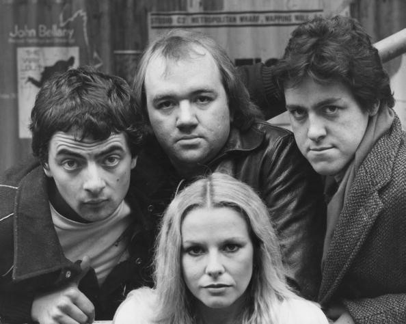 British comedians (left to right) Rowan Atkinson, Mel Smith and Griff Rhys Jones with New Zealand-born comedian Pamela Stephenson (below), in London, 20th October 1980. Together they write and star in the comedy sketch show 'Not the Nine O'Clock News'.