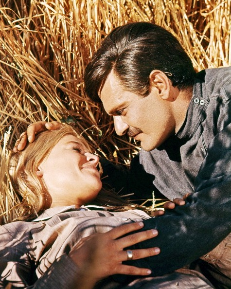Omar Sharif, as Yuri, and Julie Christie as Lara, in a publicity still for 'Doctor Zhivago', directed by David Lean, 1965.