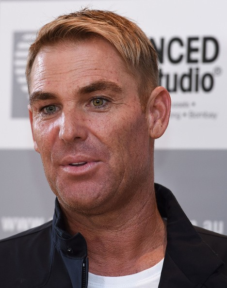 Shane Warne speaks to the media during a media opportunity at Advanced Hair Studio on March 18, 2016 in Melbourne, Australia. Shane Warne was promoting the new TV commercial for Advanced Hair Studio which was unveiled for the first time today.