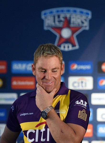 Australian cricketer Shane Warne smiles as retired Indian cricketer Sachin Tendulkar (not in picture) speaks during a press conference in New York on November 5, 2015. Tendulkar and Warne will lead a lineup of renowned cricket players from around the world in the inaugural Cricket All-Stars, a three-game series to be played in Major League Baseball stadiums in New York , Houston and Los Angeles, to promote cricket the US.
