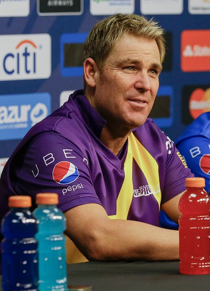 Shane Warne answers questions from the media after the Cricket All-Stars Series at Minute Maid Park on November 11, 2015 in Houston, Texas.