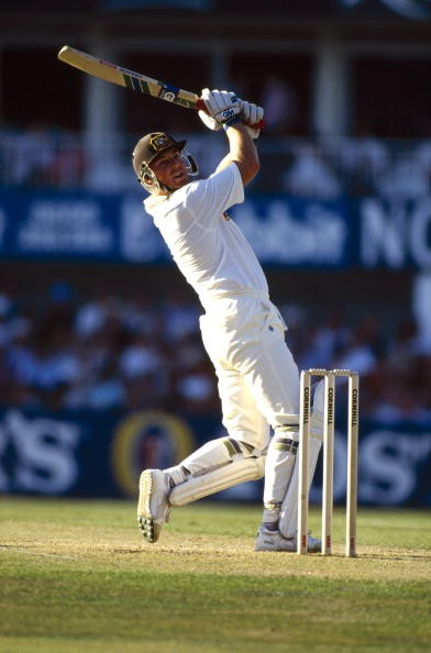 Shane Warne, Australia, pictured in batting action, Shane Warne in the 1990's became the best slow/spin bowler in the world