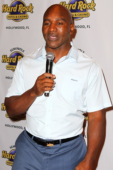 Evander Holyfield attends Little Dreams Foundation Press Conference at LBar in Seminole Hard Rock Hotel & Casino Hollywood on March 4, 2016 in Hollywood, Florida.
