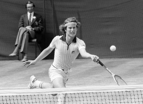 John McEnroe of the United States in action during the Wimbledon Lawn Tennis Championship Men's Singles Semi-Final held in London, circa June 1977. McEnroe lost the match to Jimmy Connors.