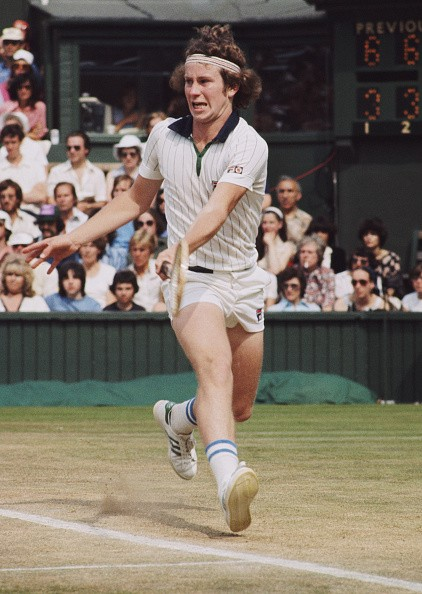 John McEnroe of the United States during the Men's Singles Semi Final match against Jimmy Connors at the Wimbledon Lawn Tennis Championship on 30 June 1977 at the All England Lawn Tennis and Croquet Club in Wimbledon in London, England.