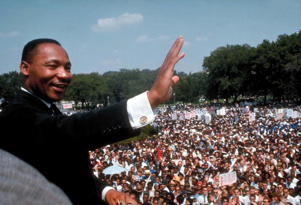 Dr. Martin Luther King Jr. giving his I Have a Dream speech to huge crowd gathered for the Mall in Washington DC during the March on Washington for Jobs & Freedom (aka the Freedom March).