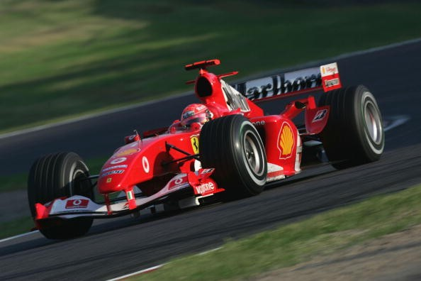 Michael Schumacher of Germany and Ferrari in action during the Formula One Japanese Grand Prix at Suzuka Circuit on October 10, 2004 in Suzuka, Japan.