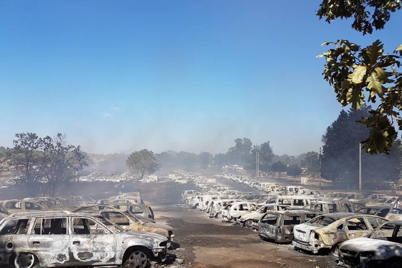 422 cars burned down at a music festival parking lot
