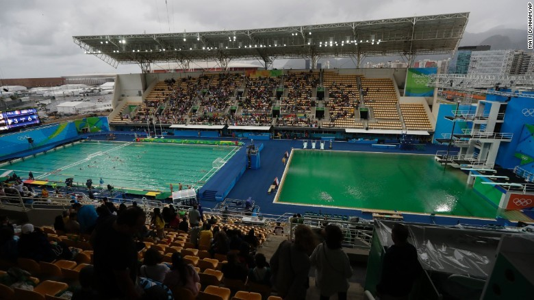 A 2nd Olympic pool has turned green
