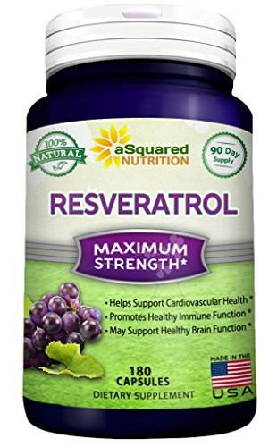(VIDEO Review) 100% Pure Resveratrol - 1000mg Per Serving Max Strength (180 Capsules) Antioxidant Supplement Extract, Natural Trans-Resveratrol Pills for Heart Health & Weight Loss, Trans Resveratrol