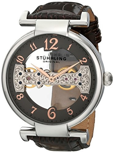 (VIDEO Review) Stuhrling Original Men's 667.02 Legacy Mechanical Bridge Skeleton Brown Watch