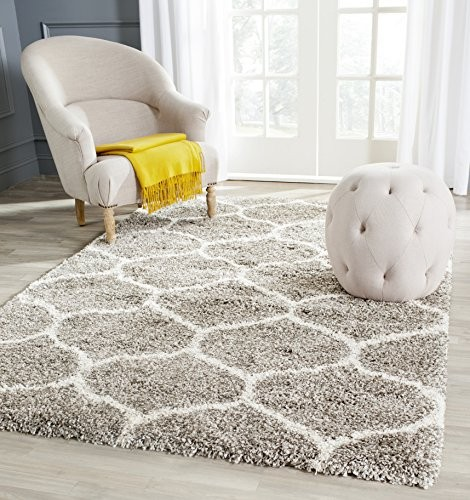 (VIDEO Review) Safavieh Hudson Shag Collection SGH280B Grey and Ivory Area Rug, 8 feet by 10 feet (8' x 10')