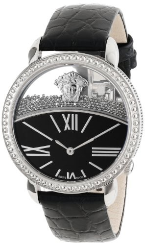 (VIDEO Review) Versace Women's 93Q99BD008 S009 Krios Round Stainless Steel Micro Spheres Black Leather Watch