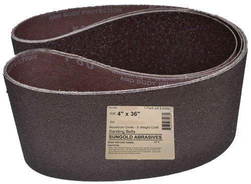 ALEKO 4Inch x 36Inch 120 Grit Aluminum Oxide Sanding Belt Pack Of 10