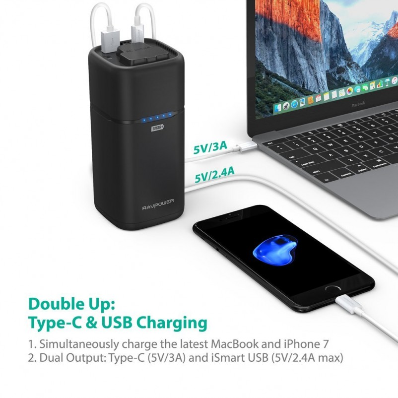 (VIDEO Review) AC Outlet Portable Charger RAVPower 20100mAh 65W(Max.) Built-in 2-Prong AC Plug Universal Power Bank