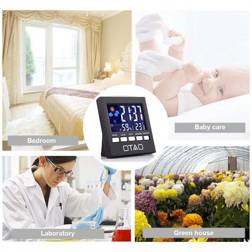 (VIDEO Review) Otao Indoor Thermometer Hygrometer Humidity Monitor Backlight Digital Temperature Gauge Humidity Meter with Cloc