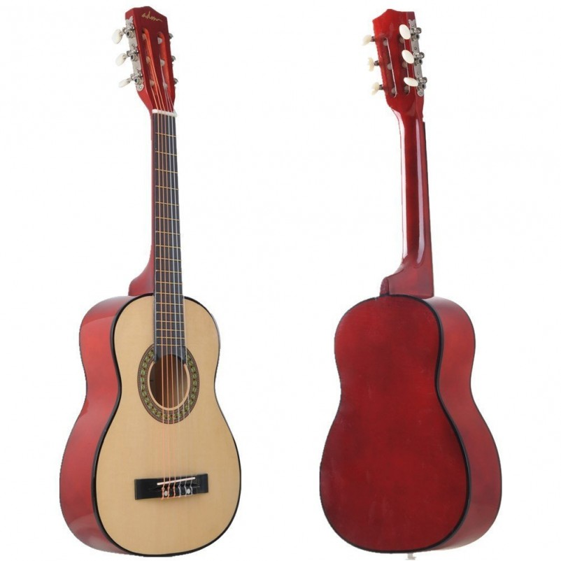 ADM 30 Inch Beginner Acoustic Classical Guitar with Carrying Bag & Accessories, Natural Gloss