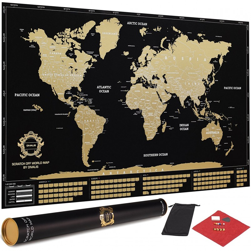 Scratch off World Map Poster with Country Flags and US States