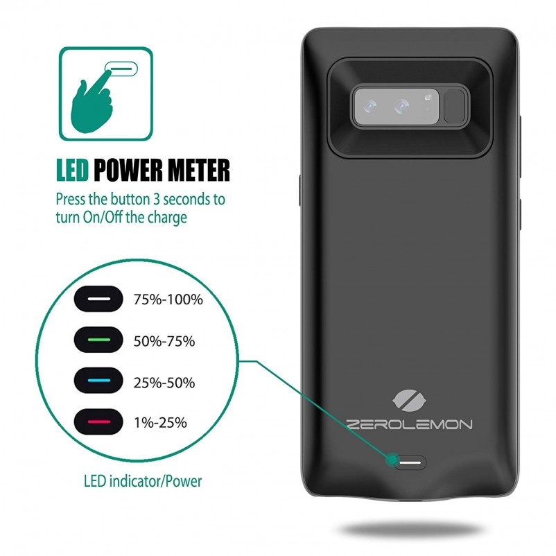 Galaxy Note 8 Battery Charger Case, ZeroLemon SlimPower 5500mAh Extended Charging Case Portable Battery Case for Samsung Galaxy Note 8
