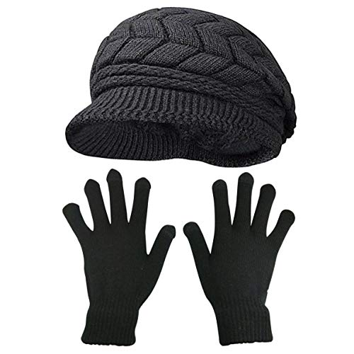 HINDAWI Winter Hats and Gloves for Women Knit Warm Snow Ski Outdoor Caps