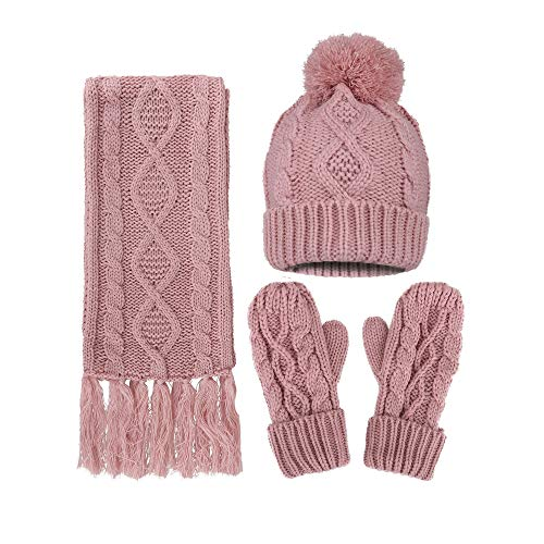 Women's Winter 3 Piece Cable Knit Beanie Hat, Gloves, and Scarf Set
