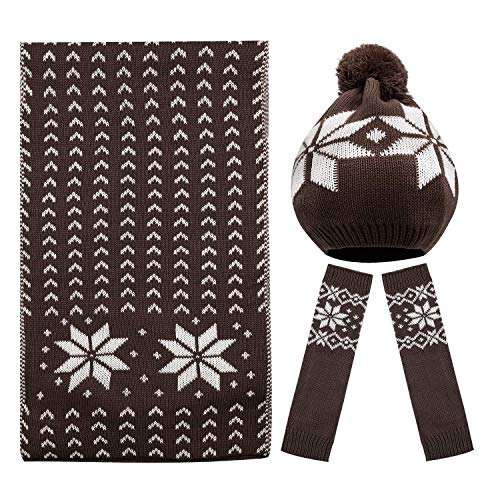 Bienvenu Women Lady Winter Warm Knitted Snowflake Hat Gloves and Scarf Winter Set