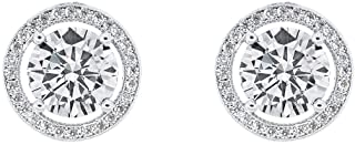 Cate and Chloe Ariel 18K White Gold Plated Halo CZ Stud Earrings