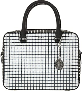 DKNY Bryant Genuine Leather Checkered Grid Satchel