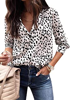ECOWISH Women's V Neck Leopard Casual Print Tunic