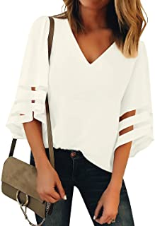 LookStore Women's V Neck Mesh Panel Blouse