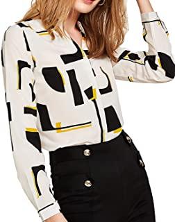 Milumia Women's Elegant Button Workwear Shirt Stand