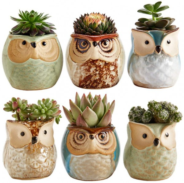 Sun-E 2.5 Inch Owl Pot Ceramic Flowing Glaze Base Serial Set Succulent Plant Pot