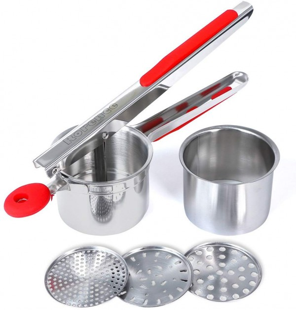 Rorence Stainless Steel Potato Ricer with 3 Interchangeable Discs