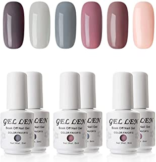 Gellen Gel Nail Polish Set - Nude Grays 6 Colors, Popular Nail Art