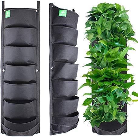 Meiwo New Upgraded Deeper and Bigger 7 Pocket Hanging Vertical Garden Wall Planter