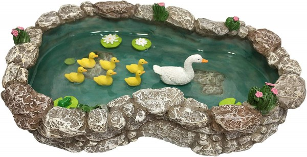 GlitZGlam Duck Pond -Mother and Ducklings! A Miniature Duck Pond