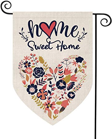 AVOIN Home Sweet Home Garden Flag Vertical Double Sided Floral Love Heart