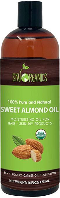 Sweet Almond Oil by Sky Organics (16oz Large Bottle)