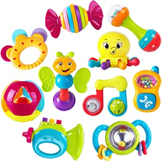 iPlay, iLearn 10pcs Baby Rattles Teether, Shaker, Grab and Spin Rattle, Musical Toy Set, Early Educational Toys
