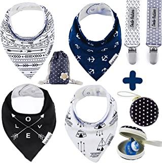 Baby Bandana Drool Bibs by Dodo Babies + 2 Pacifier Clips + Pacifier Case in a Gift Bag,