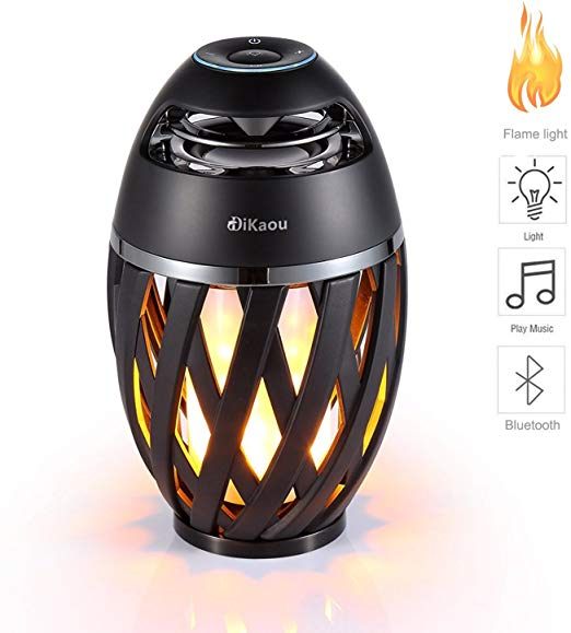 DIKAOU Led flame table lamp, Torch atmosphere Bluetooth speakers&Outdoor Portable Stereo