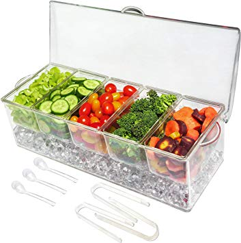 Ice Chilled 5 Compartment Condiment Server Caddy