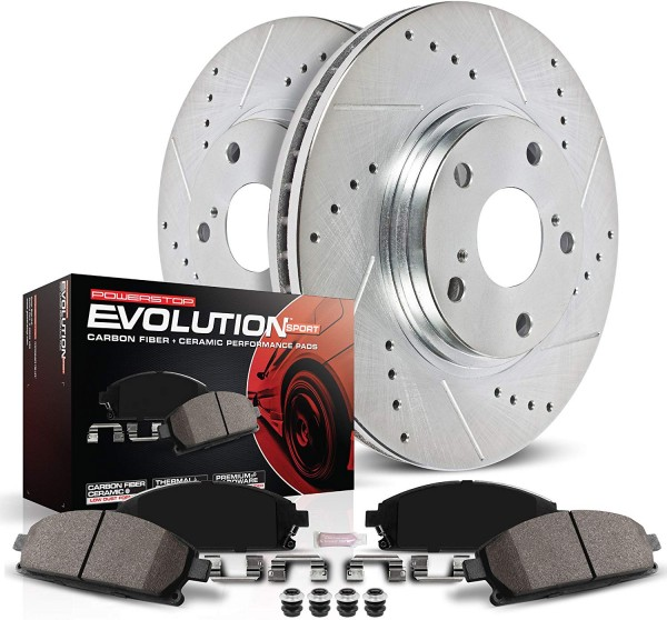 Power Stop K2316 Front Brake Kit with Drilled/Slotted Brake Rotors