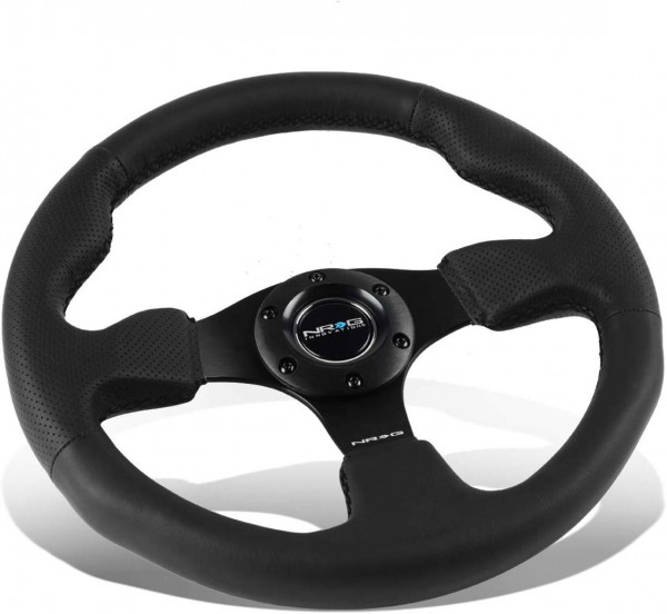 NRG Innovations RST-012R 320mm Race Style Leather Steering Wheel with Black stitch
