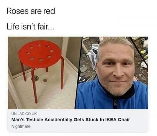 Man Stuck Testicles in IKEA Chair