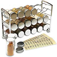DecoBros Spice Rack Stand Holder with 18 Bottles and 48 Labels